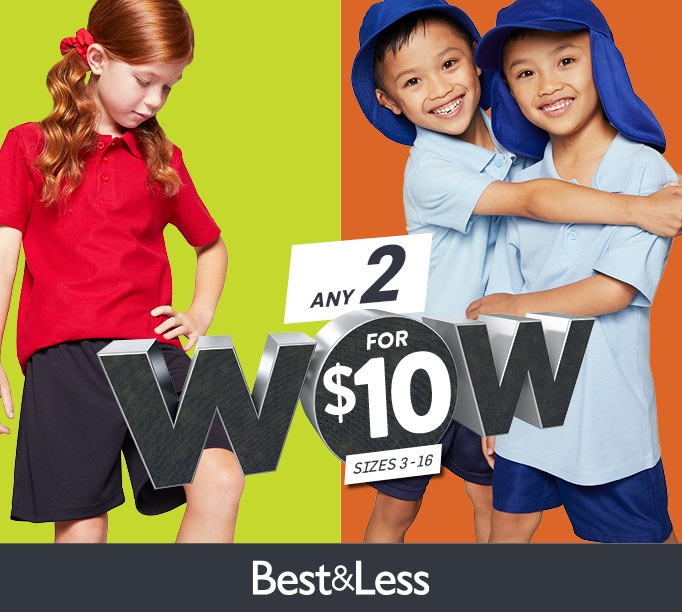 2 for $10 on Teflon polos, shorts & hats now at Best&Less
