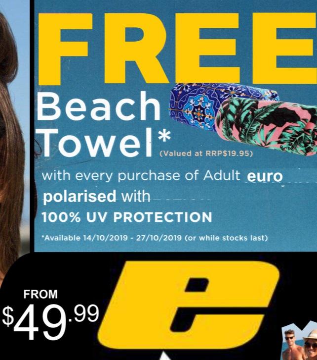 Free Beach Towel at B&B Sunglasses